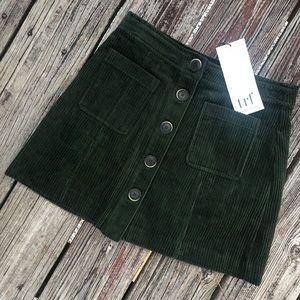Zara Corduroy Button Down Green Skirt